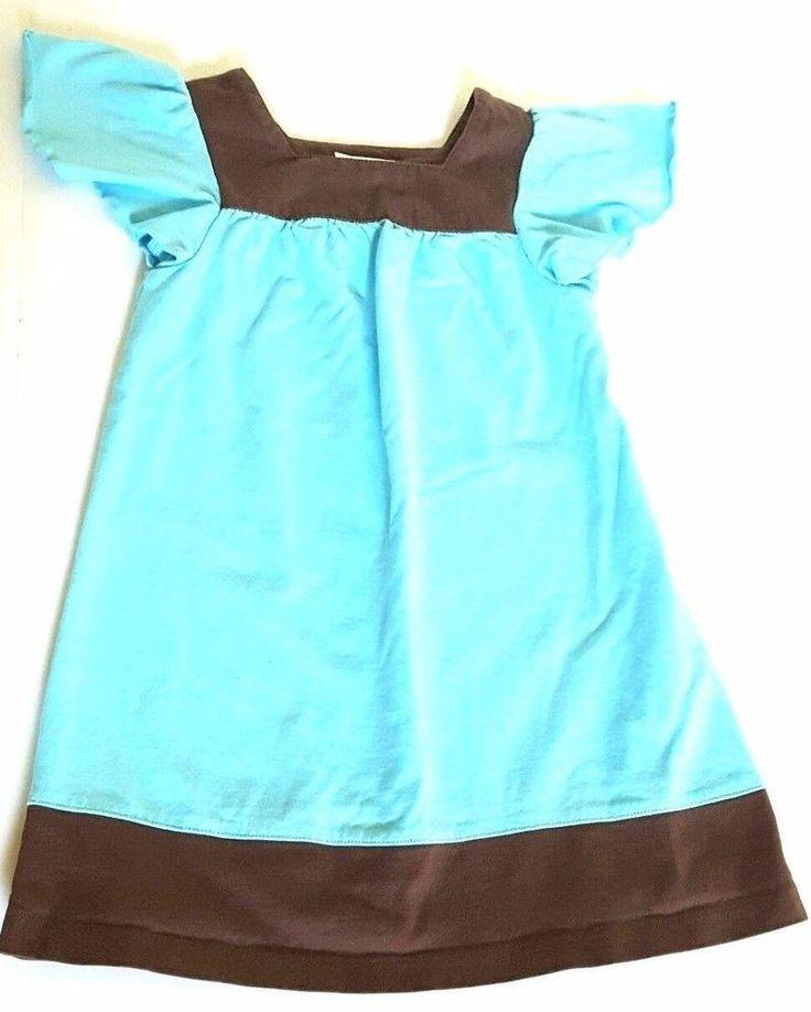Hanna Andersson Dress 100 Girls 2-3 Knit A-line Aqua Brown Cotton EUC #HannaAndersson #Casual