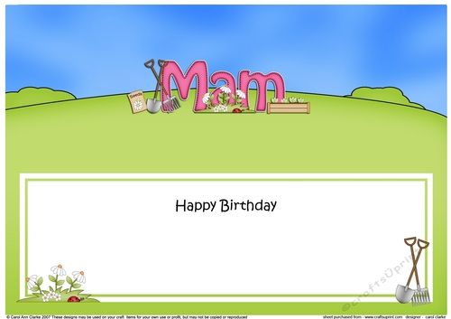 Large DL Happy Birthday MAM insert by Carol Clarke A lovely Card insert There is a matching ready to use quick card front with 3d step by…