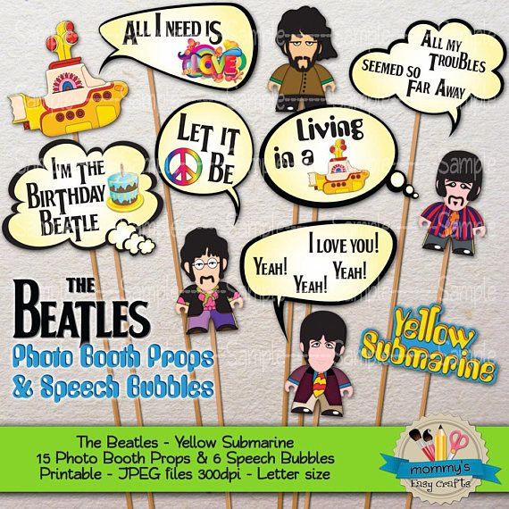 Who doesn't love The Beatles? It's Beatles Party time! Get your Yellow Submarine Party going with these printable Photo Props and Speech Bubbles from our Easy store. • • • ¿A quién no le encantan Los Beatles? Decora tu fiesta de Yellow Submarine con estos Photo Props y Globos de Texto imprimibles disponibles en nuestra tienda de Etsy. #YellowSubmarine #TheBeatles #Beatles #LosBeatles #Fiesta #Party #PartyTime #BeatlesParty #Imprimibles #Printables #Etsy #EtsyStore #Props #PhotoProps