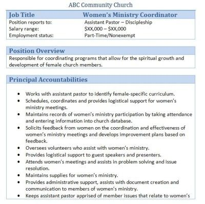 Sample Church Employee Job Descriptions