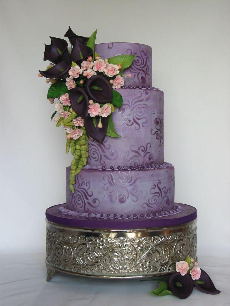 Purple Wedding Cake Calla Lillies and Cherry Blossom Sugar ...