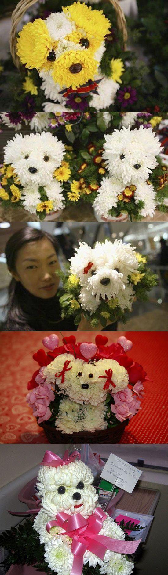 Perritos hechos con flores.