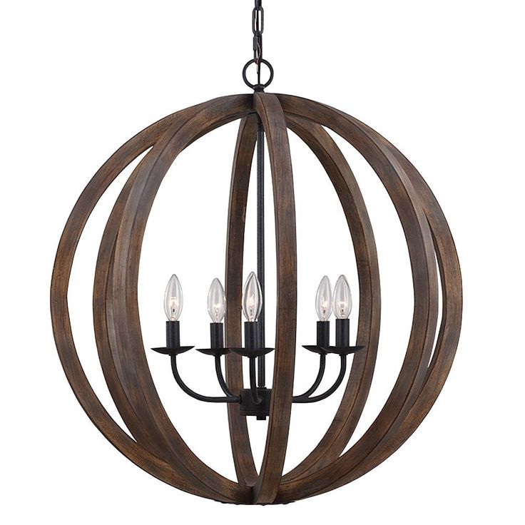Feiss F2936/5WOW/AF 5-Bulb Chandelier Pendant, Large, Weather Oak Wood/Antique Forged Iron Finish - - Amazon.com