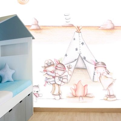 Decoración infantil Il Mondo di Alex, Papel mural efecto pintado a mano, INDIO & INDIAS ... personalizado con nombre o frase y a medida.