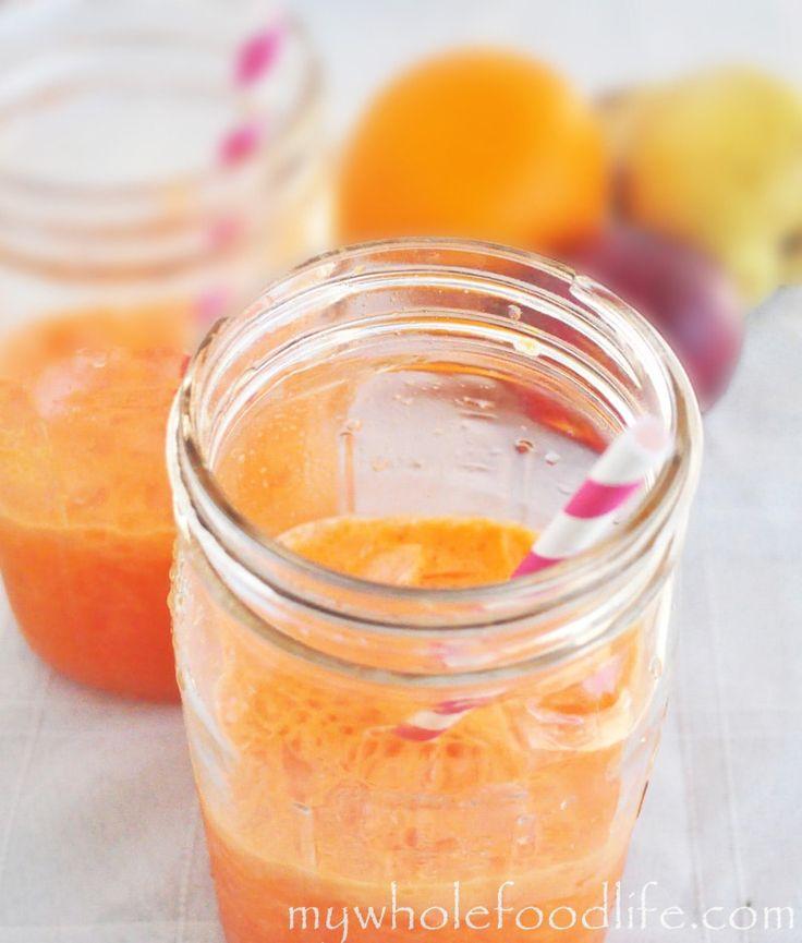Pear and Carrot Detox Juice - pear, carrot, celery, nectarine, lemon, honeydew melon, orange, ginger