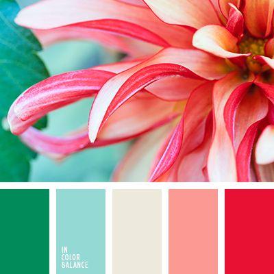 алый, бежевый, голубой, голубой и красный, зеленый, контрастное сочетание, кораллово-красный, коралловый, красно-коралловый, кремовый, насыщенный зеленый, холодный и теплый, цвет апельсина, цвет зелени, яркий голубой, яркий коралловый.