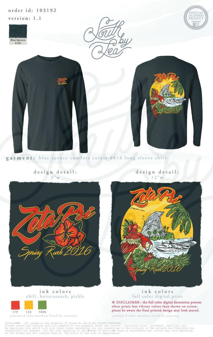 Zeta Psi | Spring Rush 2016 | Tropical T-Shirt Design | Vintage T-Shirt Design | South by Sea | Greek Tee Shirts | Greek Tank Tops | Custom Apparel Design | Custom Greek Apparel | Sorority Tee Shirts | Sorority Tanks | Sorority Shirt Designs