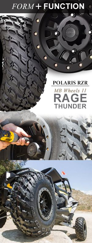 Form & Function Polaris RZR: The MB Wheels 11 not only look great but they have built in protection with bolt on (replaceable and paintable) scratch guards.  Pair a set of MB11 wheels with Rage Thunder Tires and your experience a new levels of traction and durability.  Click this pin to see this wheel and tire combination in action. (pin linked to video)