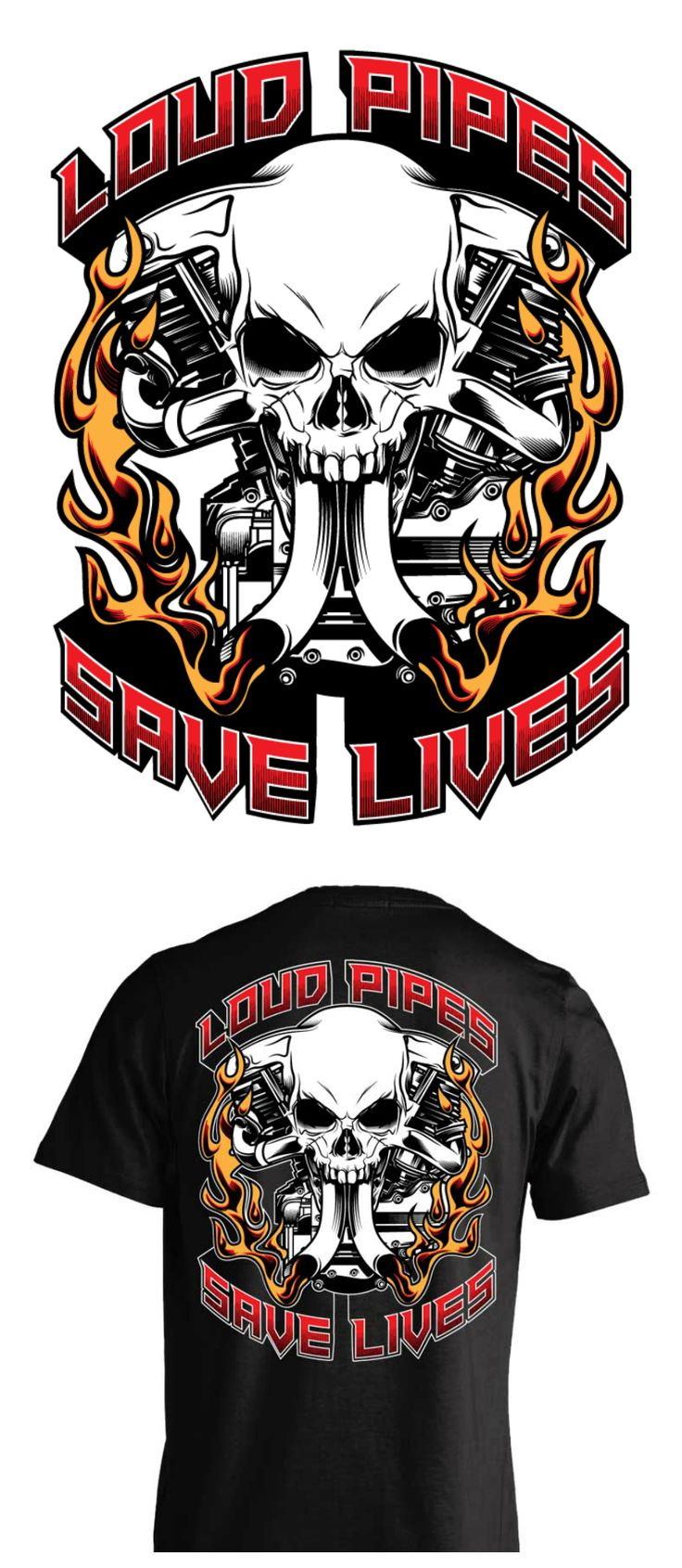 Loud pipes save lives motorcycle biker t-shirt. Awesome skull art and v-twin motorcycle engine.