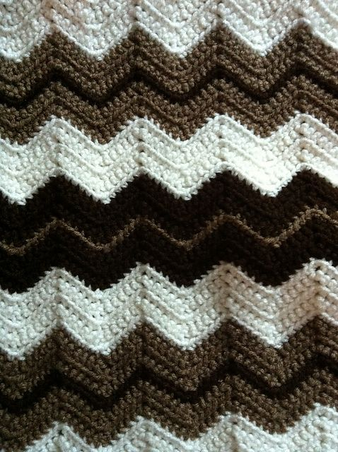Ripple Blanket, free pattern by Marilyn Losee. This super-easy ripple pattern worked in all SC is great for a beginner.  Pic from Ravelry Project Gallery.  **UPDATE:  Made up a swatch & this works just as well using DC, which is faster. The only difference is the ripple will be smoother & gentler, less sharp than with SC.  . . . .   ღTrish W ~ http://www.pinterest.com/trishw/  . . . .    #crochet #afghan #throw #pillow #chevron #zigzag