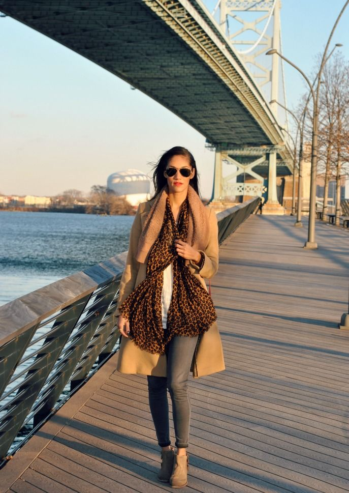 khaki coat, winter layers, leopard scarf: