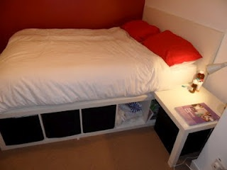 ikea hackers bed made from lack table and expedit self