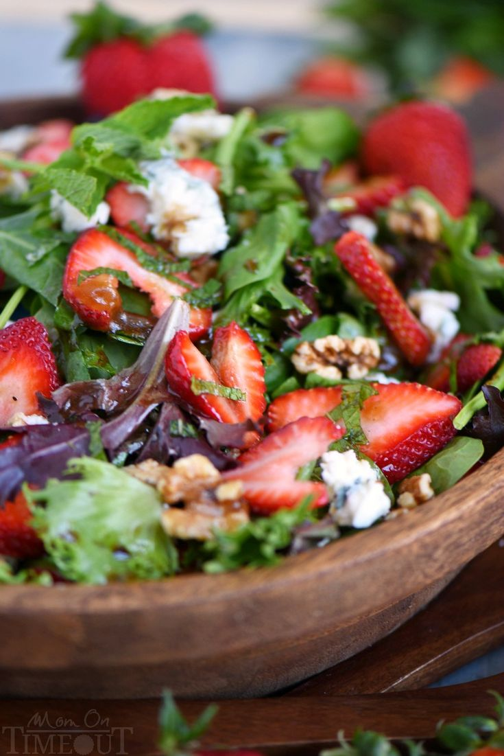 Feast your eyes on this stunning Strawberry Salad with Gorgonzola, Walnuts and Mint! It's a party in your mouth! The perfect summer salad!