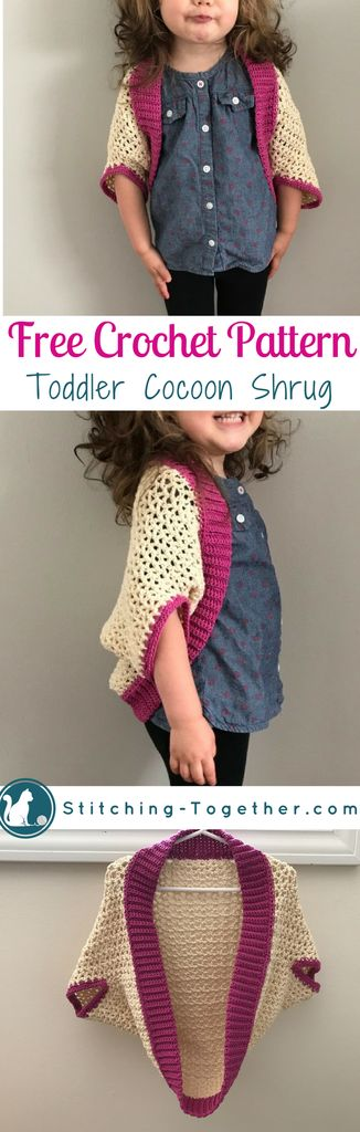 Adorable toddler cocoon shrug. Click through for the free crochet pattern for this toddler cocoon shrug. Easy to make crochet blanket sweater perfect for the tiny toddler in your life.