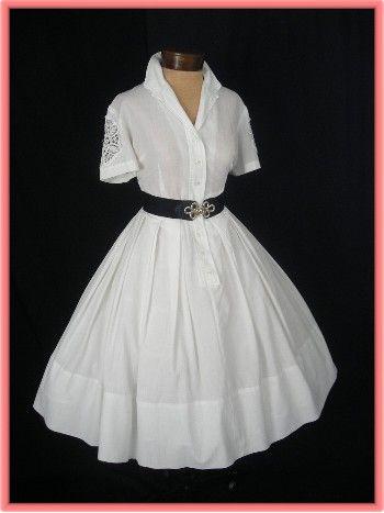 White shirtwaist dress with crochet lace insertsDresses Fashion,  Crinoline, Vintage Dresses, Grad Dresses, Shirtwaist Dresses, 50S Dresses, Work Dresses, Vintage Clothing, Vintage Style