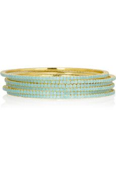 isharya | brass-plated bangles with turquoise resin