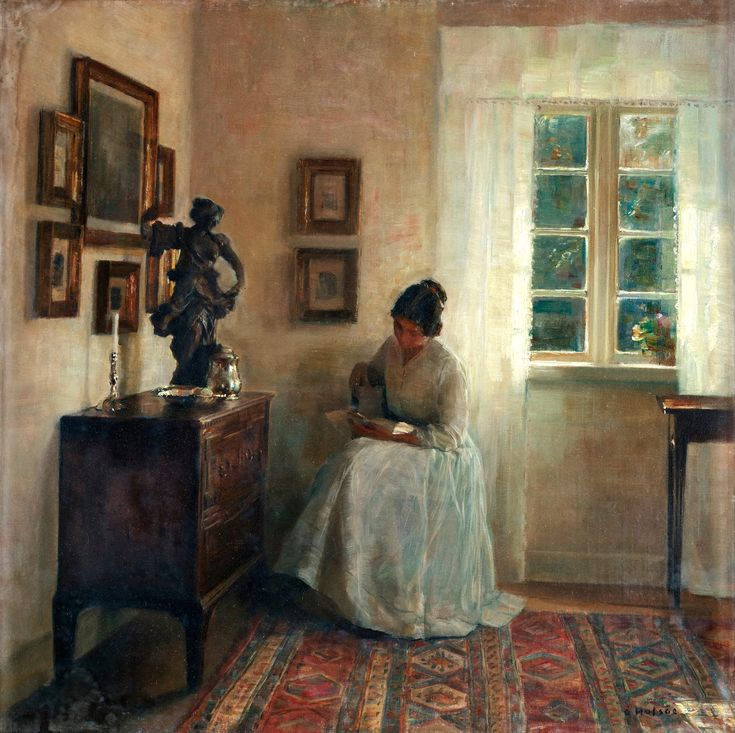 Интерьер с читающей женщиной_61,5 x 61_х.,м._Частное собрание Карл Вильхельм Холсё (Carl Vilhelm Holsøe), 1863-1935. Дания