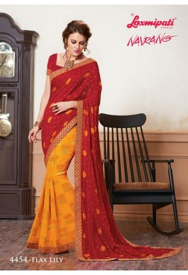 Orange and Red Georgette Saree