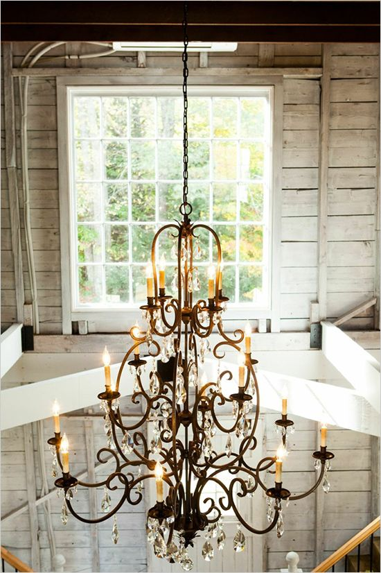 vintage chandelier for wedding lighting #weddingreception #weddinglighting #weddingchicks http://www.weddingchicks.com/2014/04/10/new-england-wedding-venue/