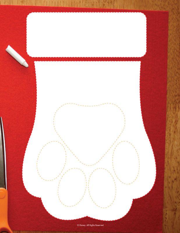 Disney Christmas Activities from Santa Paws Dog Paw Stocking Template – Cartoon Jr.