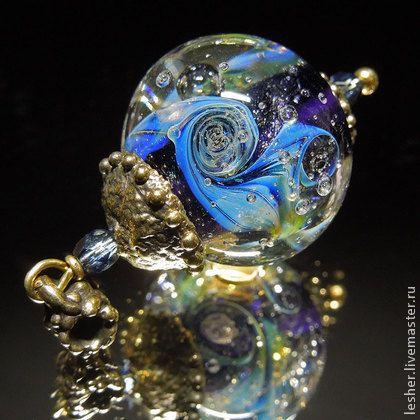 Moonly night - lampwork pendant by Alisa Dzyubenko