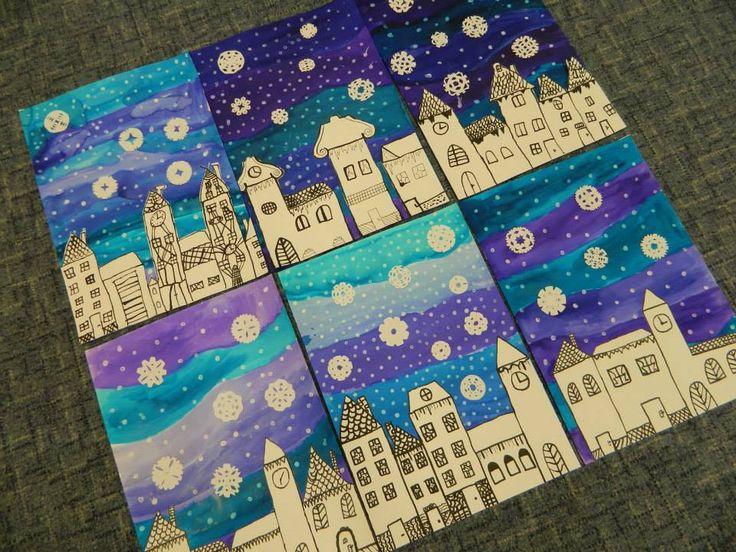 Winterse lucht in de stad. Achtergrond in blauwe tinten met witte sneeuwstippen. Ijskristallen knippen van wit papier. Huizen in zwart wit tekenen en opplakken.