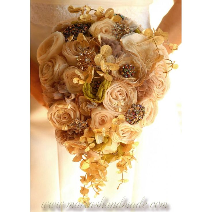 Cascading fabric bridal bouquet, One of a kind tear drop wedding bouquet by M.aria's Handmade fabric bridal bouquets