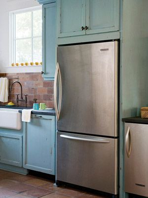 14 best laundry ideas images on pinterest kitchens for Blue distressed kitchen cabinets
