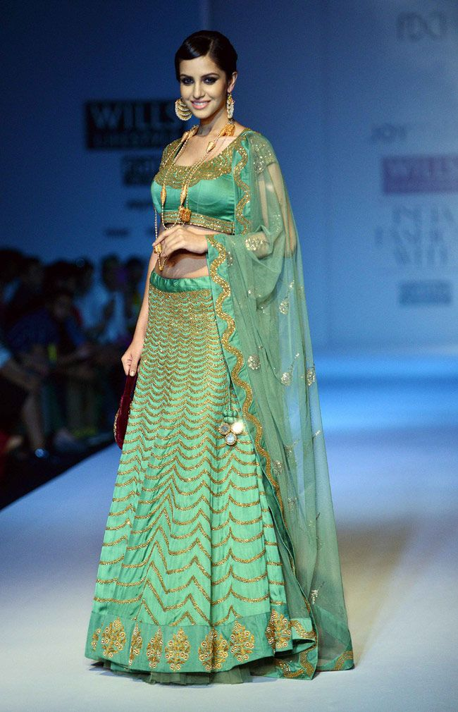 Model posing on the ramp for designer Joy Mitra at the grand finale of WIFW 2014. #WIFW2014 #Fashion #Style #Beauty