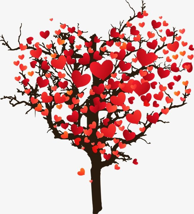 Cartoon Painted Love Tree Heart Cartoon Hand Painted Love Png
