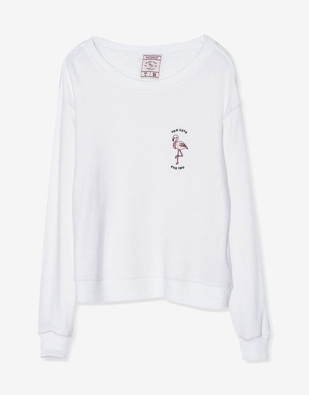 Flamingo embroidered sweatshirt - Sweatshirts & Hoodies - Clothing - Woman - PULL&BEAR United Kingdom