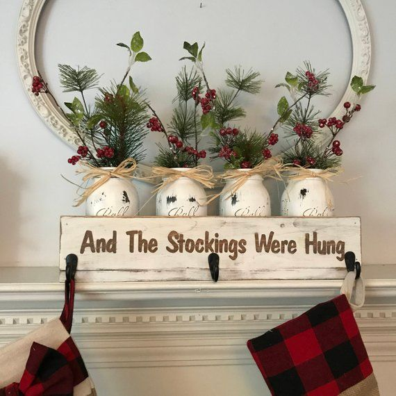 Christmas Stocking Holder and Holiday Decor Sign Personalized Christmas Gift