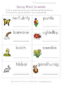 spring worksheet - word scramble