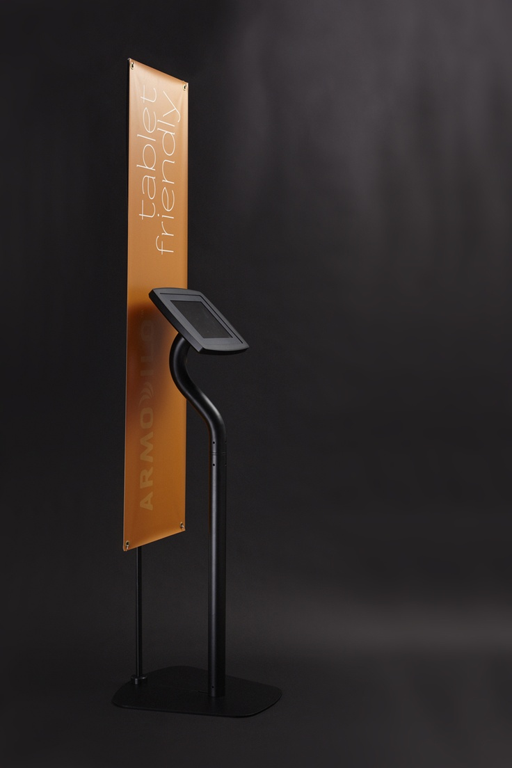 Armodilo iPad Kiosk - Finished in Black  (Floor configuration showing optional banner stand add-on)