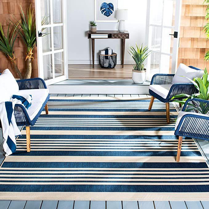 Amazon Com Safavieh Courtyard Collection Cy6062 268 Indoor Outdoor Area Rug 5 3 X 7 7 Navy Be In 2020 Indoor Outdoor Area Rugs Indoor Outdoor Rugs Outdoor Rugs