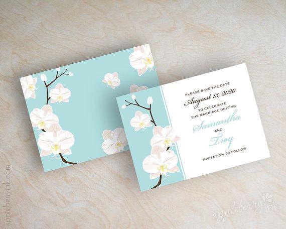 Orchid save the dates, save the date postcard, save the date magnet, destination wedding, light aqua, green blue, Jayda. www.appleberryink.com