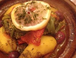 Tajine de merlan aux légumes.