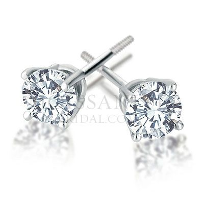 Check out the deal on Basket Set moissanite Earrings with Threaded Backing set in 14k White Gold at MoissaniteBridal.com