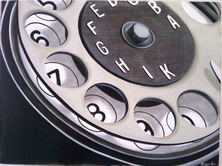 Oil on Wood of a Vintage Telephone