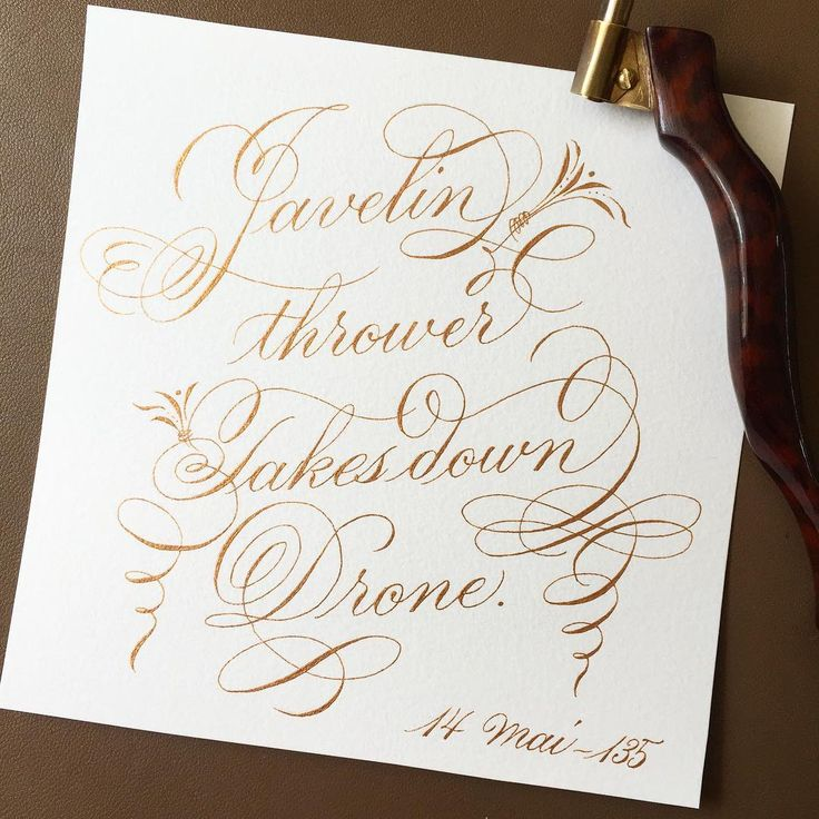 """Here's an attempt at crazy unplanned flourishes... Looks a bit 🤔 135: """"Javelin thrower takes down drone""""  A Russian participant at medieval reenactment managed to take down a drone when showcasing his spear-throwing skills. On purpose 😳! These little drones don't seem to be very resistant!  Source: RT.com #calligraphy #calligraphie #drphmartins #bling #loveletters #flourishing #freehand #spaghetti #366headlines"""