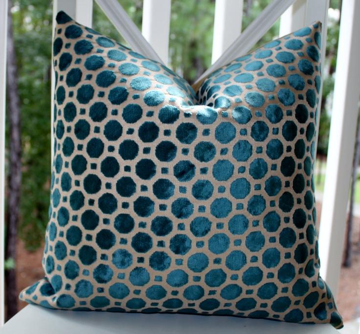 Decorative Designer Pillow   22 X 22 Geometric Blue Velvet Pillow   Robert  Allen Dwell Studio