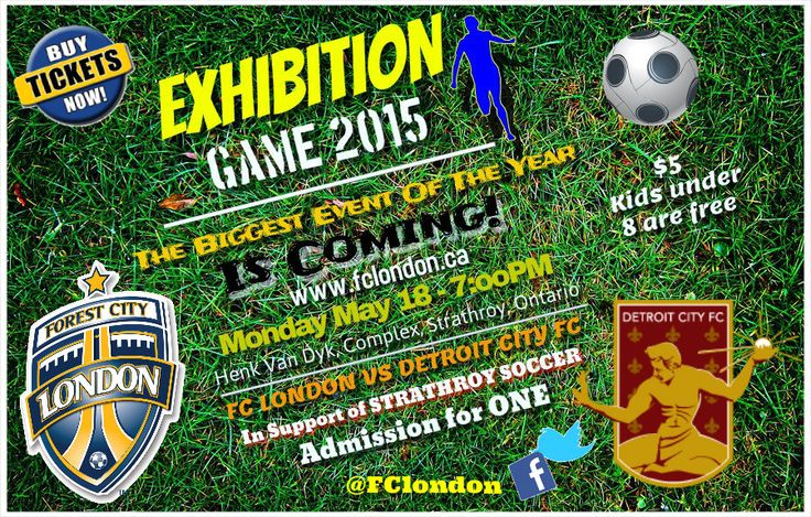London FC to host Detroit City FC in an #exhibition match for the #2nd year straight at 7PM on Monday May 18th in #strathroy!!! Tickets on #sale soon....check out the fc London website for updates!!! #FCLvDCFC Courtesy of Sportsgamelive