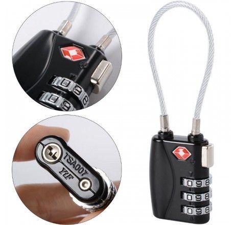 Kodelås med wire til bagasje etc TSA-godkjent, smalt låsehus, Jasit