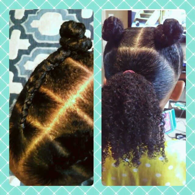 Simple curly kids hairstyle, part into 3 sections, ponytail in the back, 4 connected ponytails it the front, braid the final ponytail in the back and secure in a bun, repeat on other side... Done! Tie down the front for bed time.. Loose braid ponytail and use fluff with water In the morning.