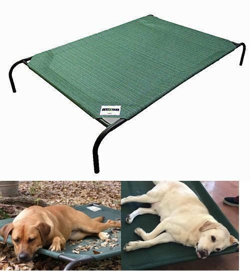 "Dog Bed XXL Raised Elevated Outdoor 42"" x 25"" Knitted Fabric Brunswick Green New #GalePacific"