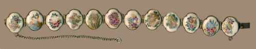 Image Copyright RC Larner ~ Bracelet--Late 1800s Japanese Satsuma 12 Small Beautiful Plaques in Brass ~ R C Larner Buttons at eBay & Etsy        http://stores.ebay.com/RC-LARNER-BUTTONS