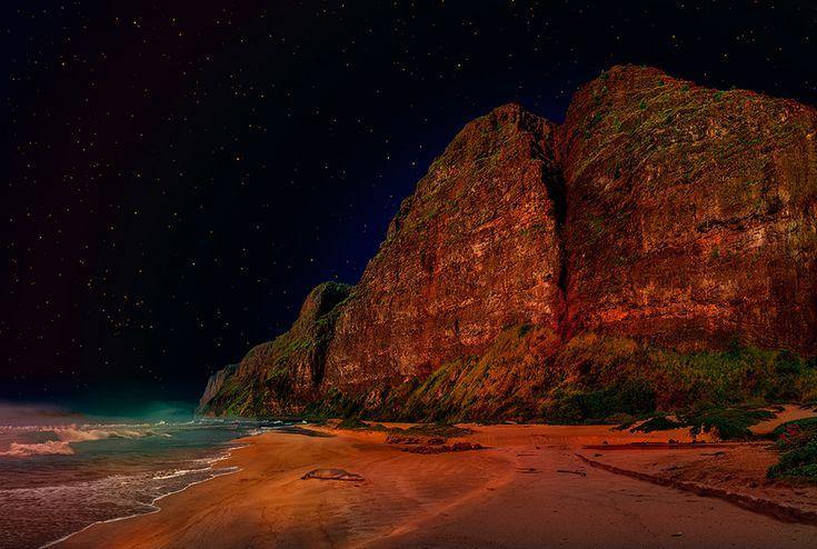 Open sleep under the star Hokule'a / Satoshi Matsuyama  #Satoshi Matsuyama #Hawaii #art #Landscape