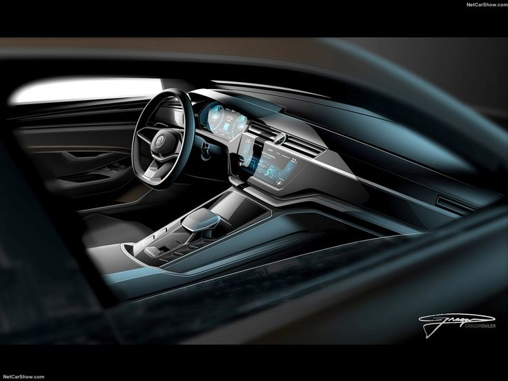 Awesome Volkswagen C Coupe GTE Concept Interior Design Sketch Render