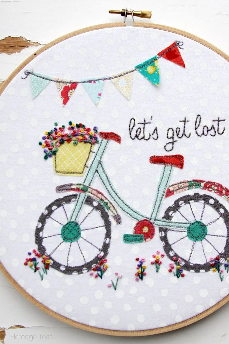 889 best machine hand embroidery images on pinterest floral bicycle embroidery hoop bankloansurffo Gallery
