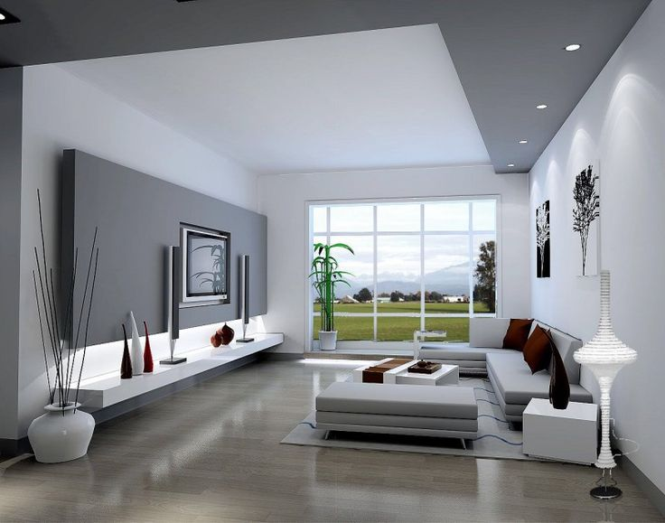 Contemporary Living Room Ideas In Elegant White And Grey Color Scheme Ans  Beautiful Natural View Seen From The Glass Wall. Part 77